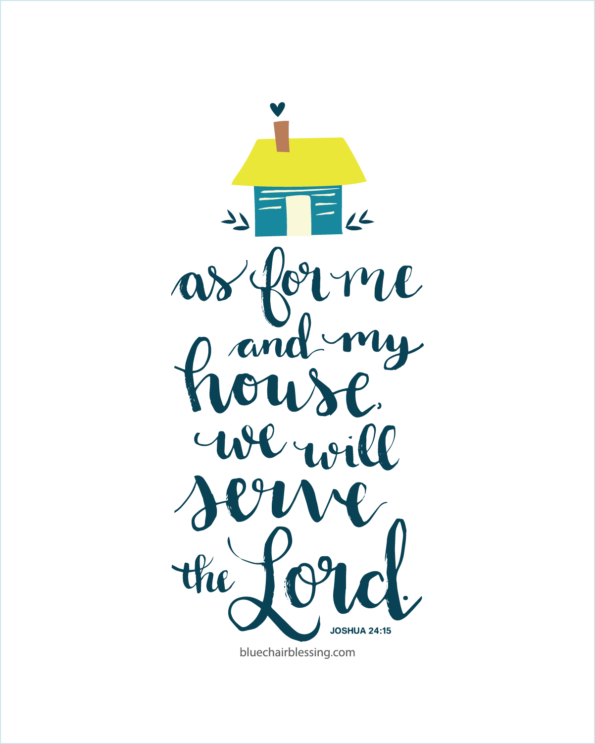 As For Me And My House We Will Serve The Lord 8 By 10 Print Hand