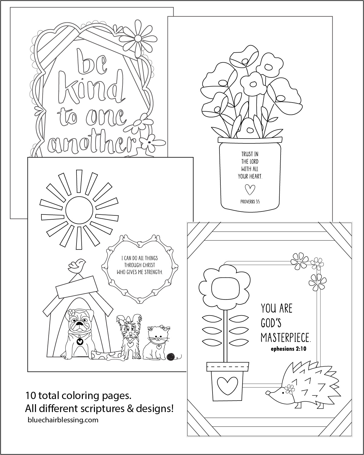 Christian Kids printable coloring book with scripture